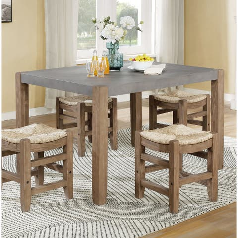 The Gray Barn Enchanted Acre 30-inch Faux Concrete and Wood Loft Dining Table - Brown