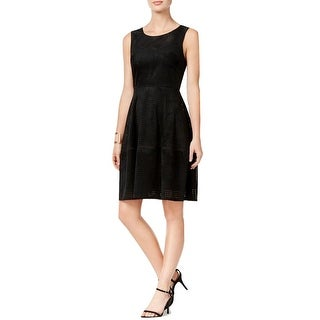 Tommy Hilfiger Perforated Faux Suede Fit & Flare Dress Black - 14