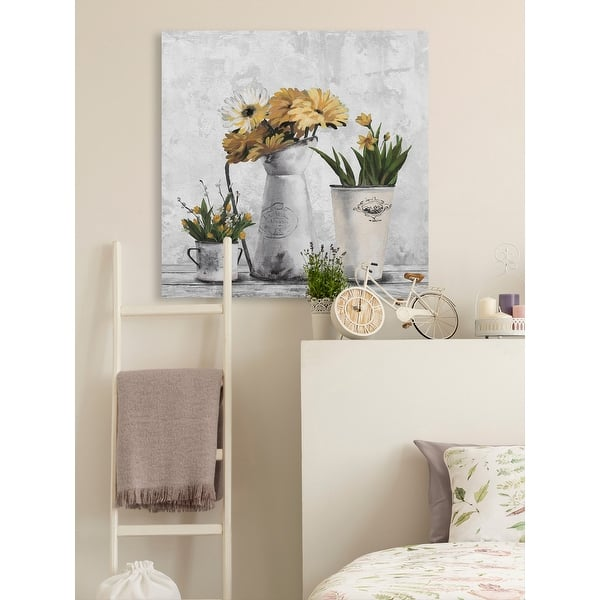 Glowing Yellow Flowers Painting Print On Wrapped Canvas Overstock 32406355