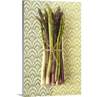 Premium Thick-Wrap Canvas entitled Green and purple asparagus in a bunch - Multi-color