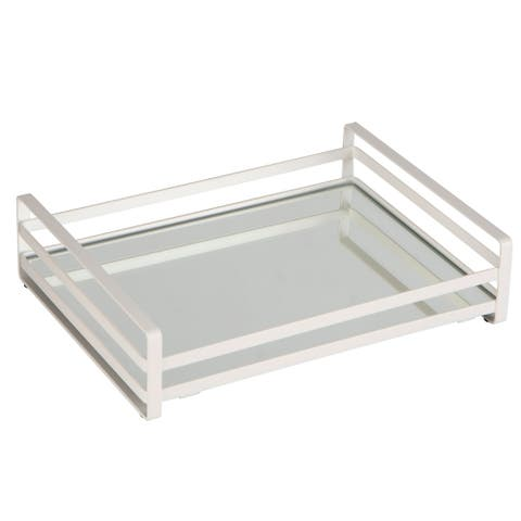 """Home Details Flat Wired Rails Large Vanity Tray - Silver - 11.4""""x 8.6""""x 2.7"""""""