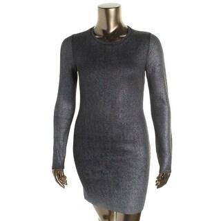 Rachel Rachel Roy Womens Metallic Iridescent Sweaterdress - S