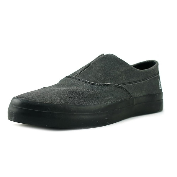 HUF Dylan Slip On Men Round Toe Leather Black Skate Shoe