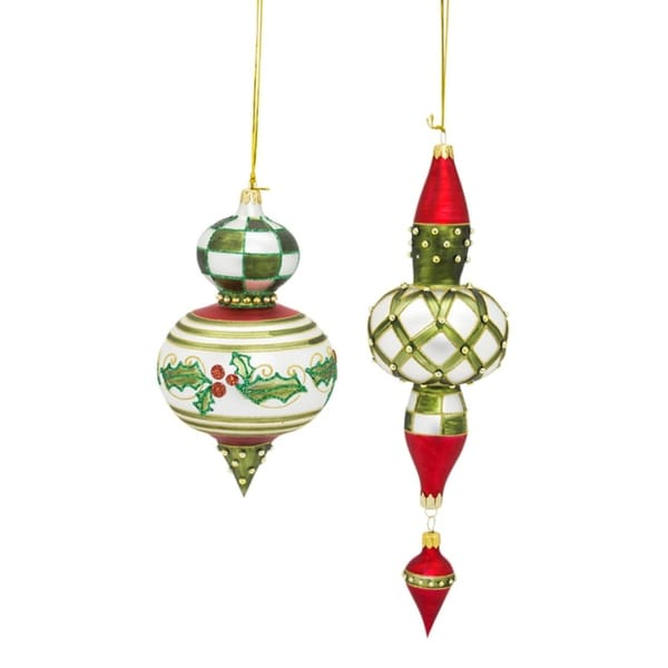 """Set of 2 Hand Painted Traditional Red and Green Glass Finial Christmas Ornaments 11.5"""""""