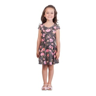 Pulla Bulla Little Girl Pleated Short Sleeve Floral Dress