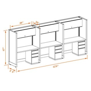 Tall Cubicles 67H 3pack Inline Unpowered (2x4 - Espresso Desk White Paint - Assembled)