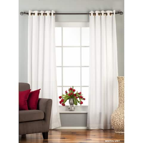 White Ring / Grommet Top Velvet Curtain / Drape / Panel - Piece