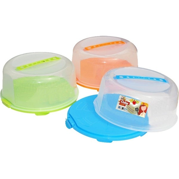 Palais Dinnerware Portable Cake Caddy Storage Container Server with Handle - Assorted Colors - 14 Inch Wide