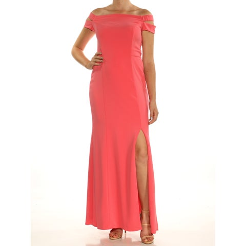 RALPH LAUREN Womens Pink Slitted Sleeveless Off Shoulder Full-Length Fit + Flare Formal Dress Size: 8