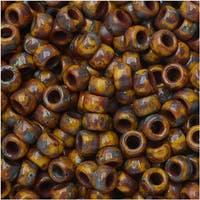 Czech Glass Matubo, 7/0 Seed Beads, 7.5 Gram Tube, Dark Limon Travertine