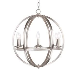 21.5-inch Stain Nickel 6-Light Orb Chandeliers