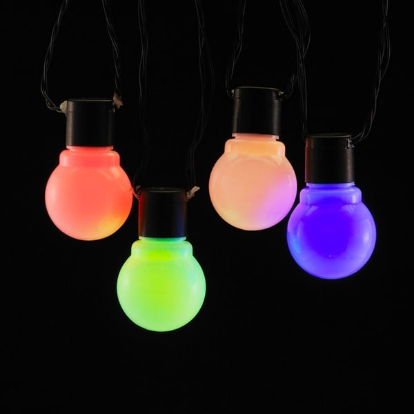 Set of 10 Multi Color Glass LED Old Fashion Party Time Christmas Holiday Light Set - Black Wire