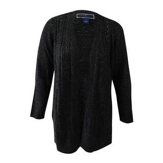 Karen Scott Women's Plus Size Open-Front Cardigan (2X, Black Ash Marl) - black ash marl - 2x