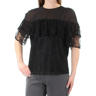 GUESS $79 Womens New 1333 Black Lace Eyelet Short Sleeve Top M B+B