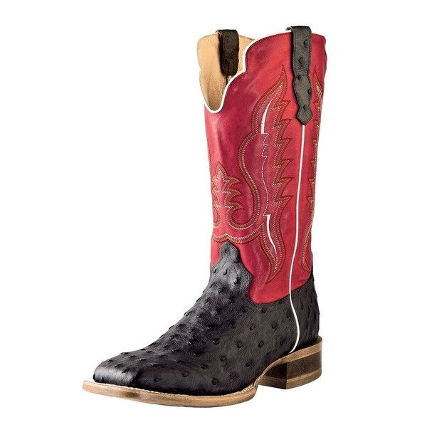 Outlaw Western Boots Mens Leather Ostrich Print Chocolate 60113