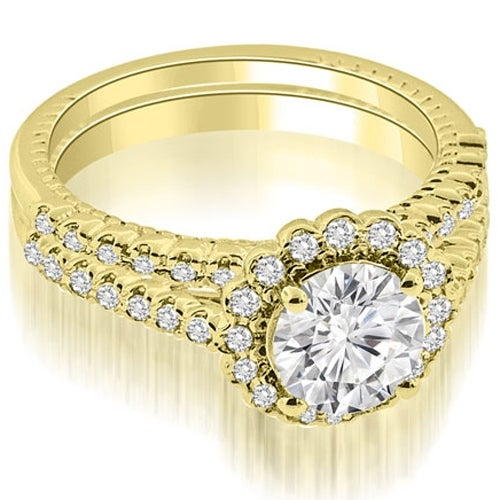 1.69 cttw. 14K Yellow Gold Antique Halo Round Cut Diamond Bridal Set