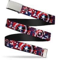 "Blank Chrome 1.0"" Buckle Captain America Shield Digital Camo Blue White Red Web Belt 1.0"" Wide - S"
