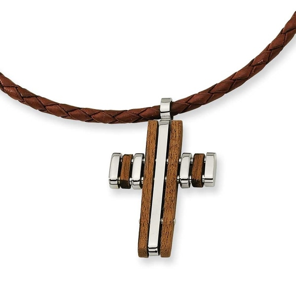 Chisel Stainless Steel Wood Accent Cross Pendant Necklace (3 mm) - 18 in