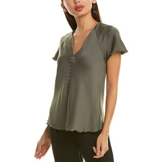 Link to Theory Button Front Silk-Blend Top Similar Items in Pants