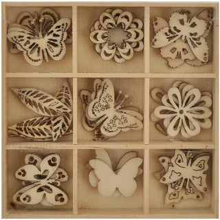 "Lucky Dip Wooden Shapes 45/Pkg-Butterfly 1.25"""