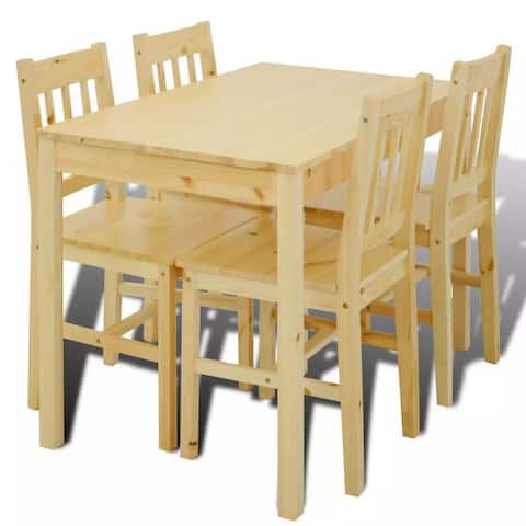 vidaXL Wooden Dining Table with 4 Chairs Natural