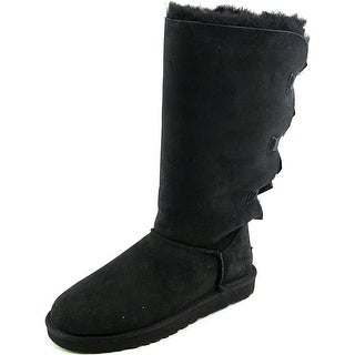 Ugg Australia Bailey Bow Tall Women  Round Toe Suede Black Boot