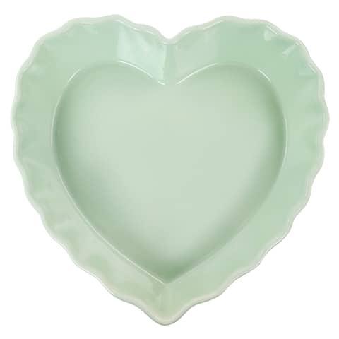 Martha Stewart 11in Heart Shaped Stoneware Cake Pan in Mint