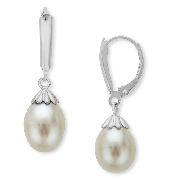 Honora 9-9.5mm White Freshwater Pearl Drop Earrings in Sterling Silver