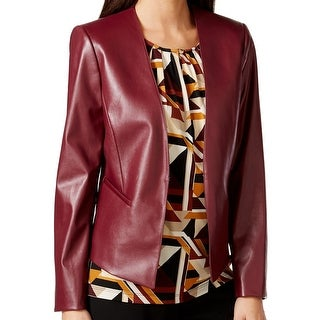 Tahari By ASL NEW Red Women's Size 14 Faux Leather Open Front Jacket