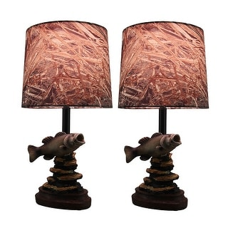 Set Of 2 Mossy Oak Fresh Catch Fish Lamps W/Camouflage Fabric Shade 16 In