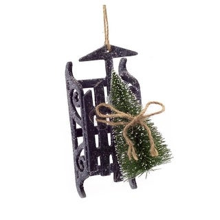 "6"" Country Rustic Gray Sled with Sisal Tree Decorative Christmas Ornament"