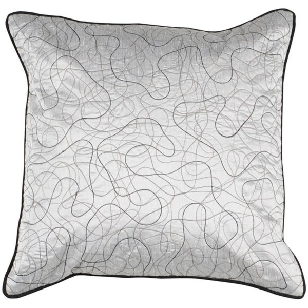 "22"" Overlapping Squiggles Black and Light Gray Decorative Pillow - Down Filler"