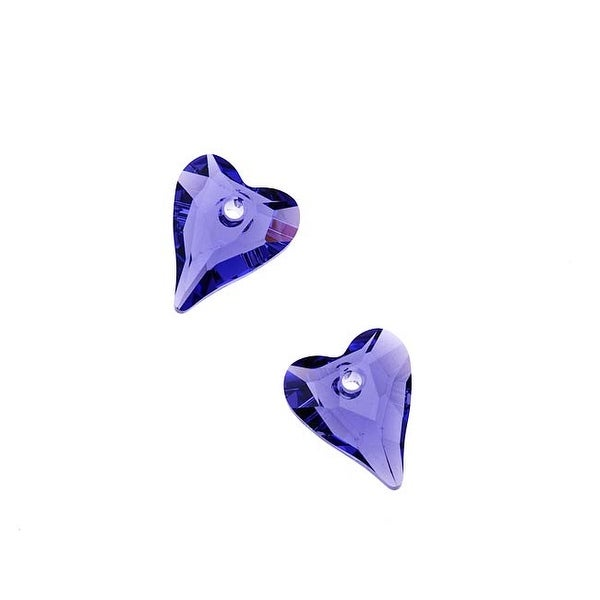 Swarovski Elements Crystal, 6240 Wild Heart Pendants 12mm, 2 Pieces, Tanzanite