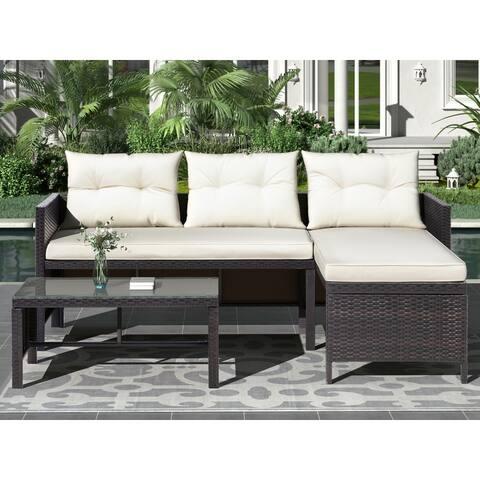 3 PCS Outdoor Rattan Furniture Sofa Set with cushions