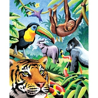 """Color Pencil By Number Kit 8.75""""X11.75""""-Jungle Animals"""