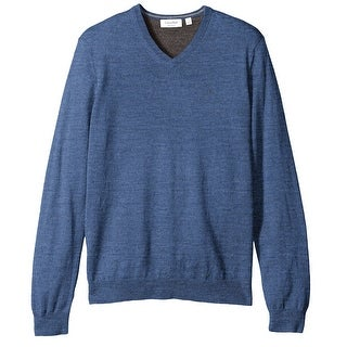 Calvin Klein NEW Blue Mens Size Small S Merino Solid V-Neck Sweater