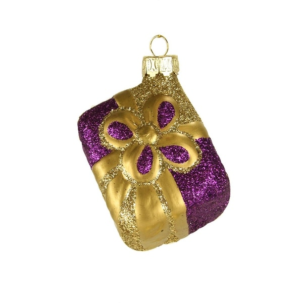 "2.5"" Purple & Gold Glitter Heirloom Present Gift Glass Blown Christmas Ornament"