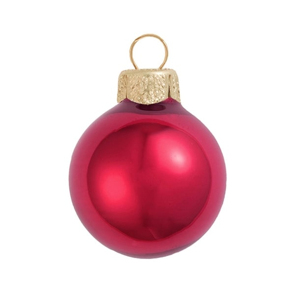 "12ct Pearl Rubine Red Glass Ball Christmas Ornaments 2.75"" (70mm)"