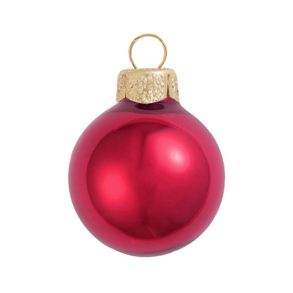"28ct Pearl Rubine Red Glass Ball Christmas Ornaments 2"" (50mm)"