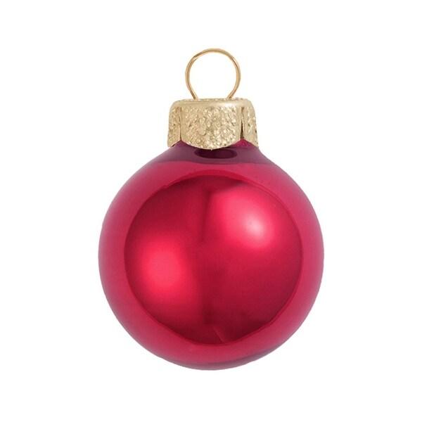 "40ct Pearl Rubine Red Glass Ball Christmas Ornaments 1.5"" (40mm)"