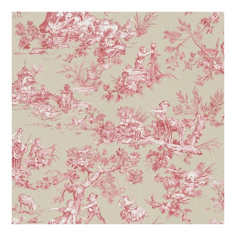 Whitney Red Toile Wallpaper - 20.5 x 396 x 0.025