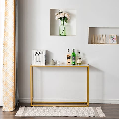 Sofa Side Table with Marble Aboards panel and Metal Legs