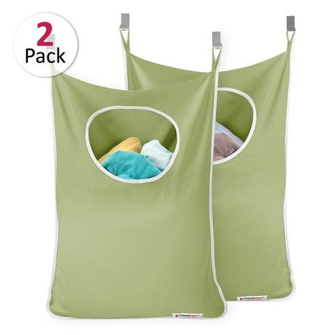 "StorageMaid - Set of 2 - Door-Hanging Laundry Hamper with 4 Hooks - 29.75"" x 21.80"""