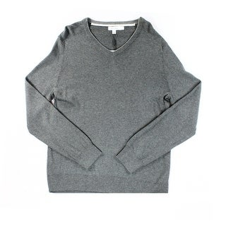 Calvin Klein NEW Gray Mens Size Large L Pullover Knit V-Neck Sweater