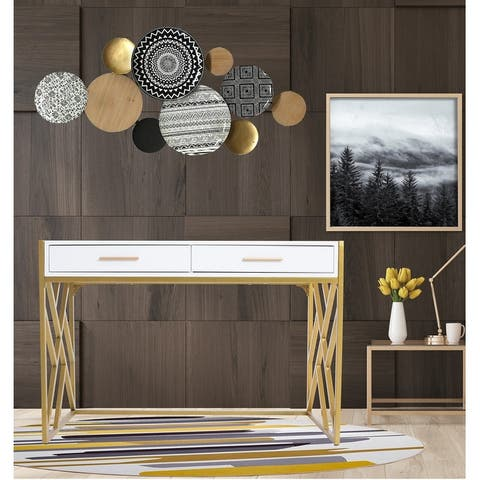 Modern Glossy Writing Desk In White/ Gold
