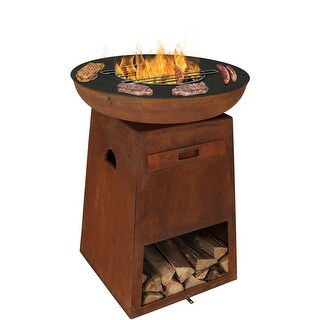 Sunnydaze Fire Pit with Cooking Edge and Built-In Log Storage, 30-Inch Diameter