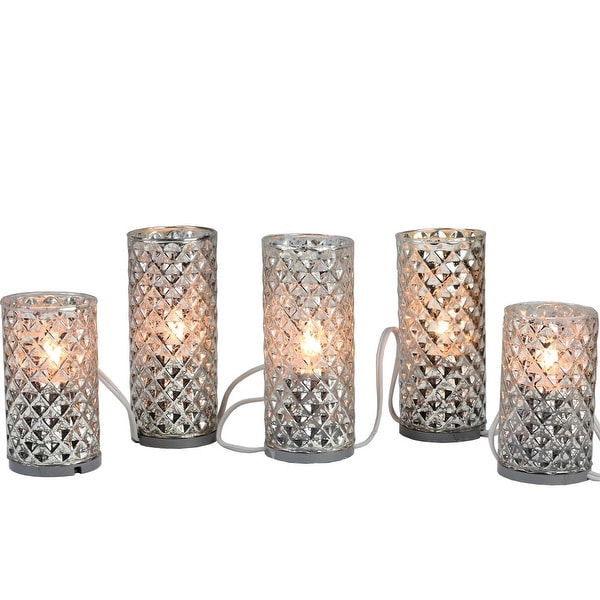 Set of 5 Silver Diamond Faceted Mercury Glass Flameless Pillar Candle Christmas Lights