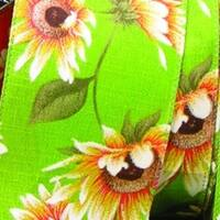 """Green Sunflower Meadow Print Wired Craft Ribbon 2.5"""" x 20 Yards"""