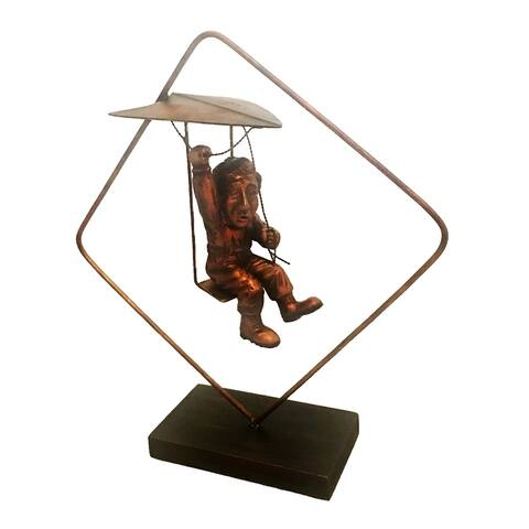 Handmade Bronzed Man on Hang Glider (Philippines) - 11 x 4 x 12
