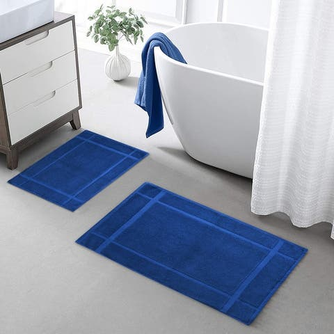 """Ample Decor Bath Mats for Bathroom Floor,Thick and Soft,1350 GSM 100% Cotton Bath Rugs (24"""" X 17"""") (34"""" X 20"""") - Pack of 2"""
